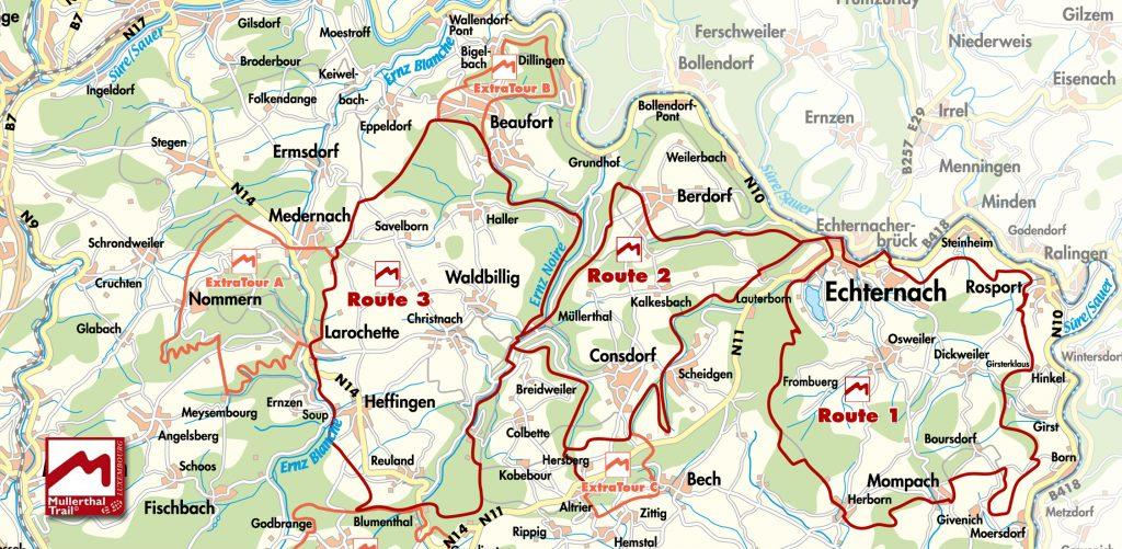 Bekijk de Kaart van Mullerthal Trail Wandel Routes